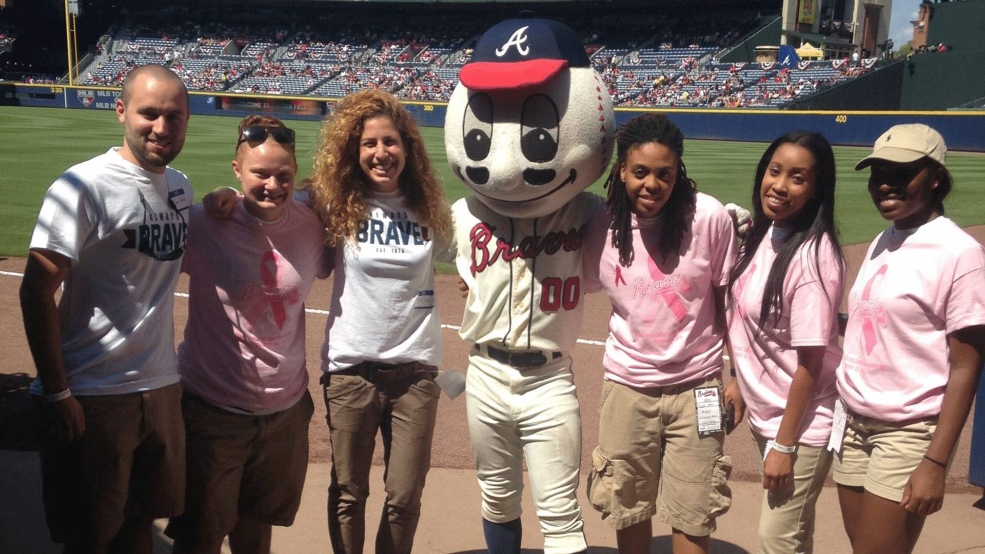 Sport administration students with the Braves mascot