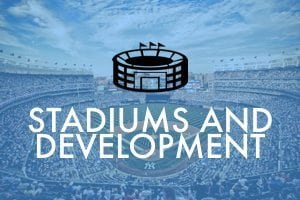 Graphic of inside a stadium filled with people with the words - Stadiums and Development