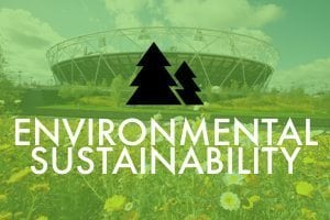 Graphic of a stadium with a lawn in front - words say Environmental Sustainability