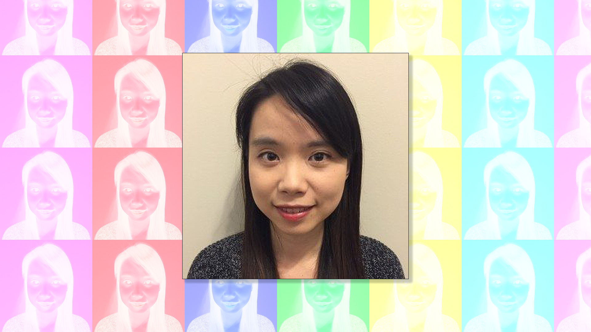Jingxuan Liu headshot over a multicolored background